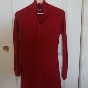 Athleta Sweater Dress Half Zip Neck Cable Knit